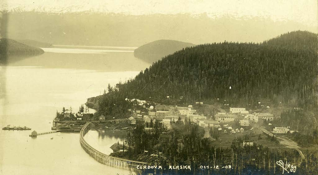 Photograph of Cordova by Eric A. Hegg, October 12, 1908.  Courtesy of Alaska State Library.