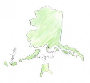 Map of Alaska showing locations associated with Benny Benson.