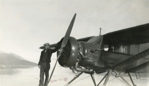 "Merritt ""Kirk"" Kirkpatrick and his Bellanca Pacemaker in 1938.  Courtesy of Alaska Airlines, Merle Smith Collection."