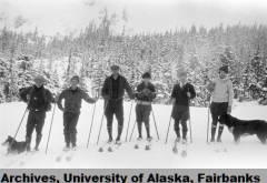 Group of cross-country skiers, circa 1930. UAF-2006-103-2, Crosson Family Papers, University of Alaska Fairbanks Archives.