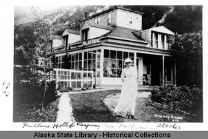 Mrs. Pullen in front of the Pullen House, Skagway, Alaska, ca. 1900. ASL-P01-4343, Alaska State Library Photograph Collection, Alaska State Library-Historical Collections.