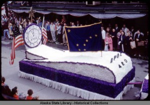 Statehood celebration parade, Juneau, Alaska, July 4, 1959. ASL-P534-38b, Ann Pearson Wood Slide Collection, Alaska State Library-Historical Collections.