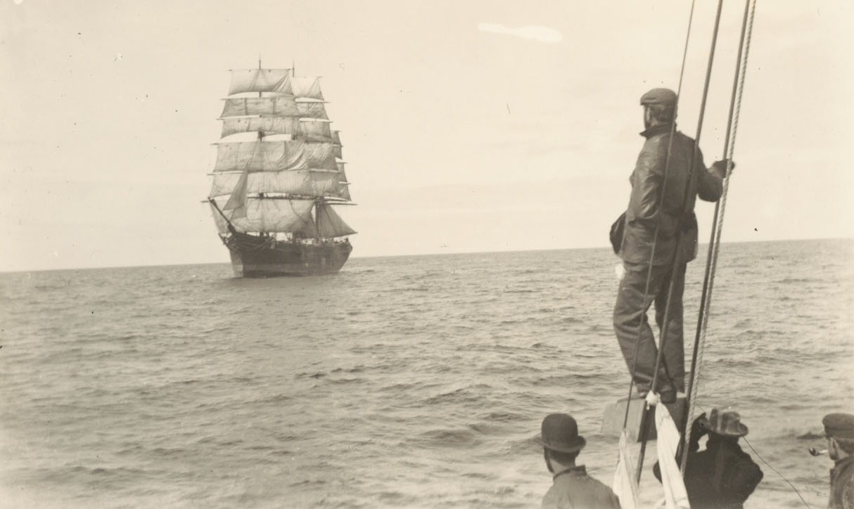 In the North Pacific, gold-seekers aboard the Penelope pass a vessel leaving Alaskan waters, 1898.  Bancroft Library, Joseph Grinnell Collection.