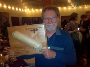 Mike Hawfield receives the President's Award at the 2013 annual conference, Haines, Alaska. Photo by Jo Antonson.