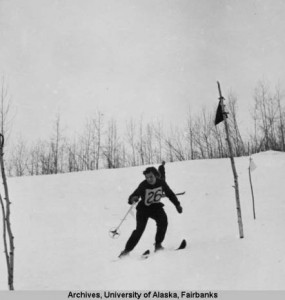 Downhill ski race, date unknown. UAF-1958-1026-2368, University of Alaska, General File, Vertical File, University of Alaska Fairbanks Archives.