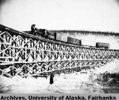 Tanana Valley Railroad, Bridge No. 5, Fox Gulch, Alaska, circa 1910. Photo by Albert J. Johnson. UAF-1979-41-67, Falcon Joslin Papers, University of Alaska Fairbanks Archives.