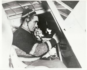 Harold Gillam seated inside his Pilgrim airplane, getting ready to deliver the mail. #95-46-95, courtesy of the Cordova Museum, Cordova, Alaska..