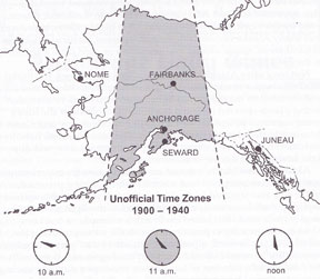 Unofficial time zones in Alaska 1900-1940. Map by Carol Belenski.