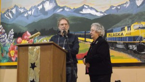 Marie Darlin accepting the Evangeline Atwood Award from Mike Hawfield.