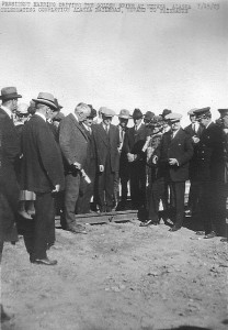 "President Warren Harding driving in the ""golden spike"" completing the Alaska Railroad at Nenana in July 1923. How many people who pass by everyday know this happened here?"