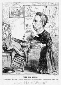 "Cartoon: Thomas Nast, April 20, 1867: Old Mother Seward. ""I'll rub some of this on his sore spot. It may soothe him a little."" (Courtesy HarpWeek)"
