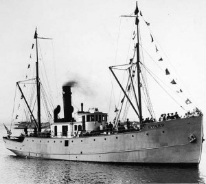 The 'gallant little mail ship of the North Pacific', the SS STARR shown here, probably in Puget Sound, prior to 1922. Here her back deck is low and a dory is visible. Photographer unknown. (Courtesy Michael Burwell Shipwreck Files.)