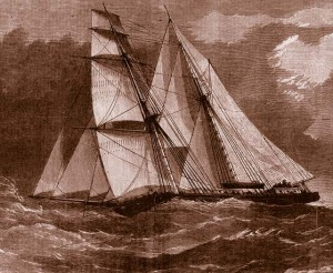 The brigantine WINDWARD shown in this drawing was very similar to the Turner's TIMANDRA which he purchased at Newburyport in 1857 and brought round to San Francisco. (Illustrated London News, May 1888.)