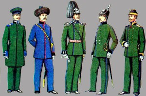 Uniforms of the Corps of Russian Mining Engineers as they appeared in 1855. The uniform in the center is the rank of a junior officer; i.e., a lieutenant, which is the rank held by Doroshin during his work in Alaska. From Russian Mining Museum collection, St. Petersburg, Russia.