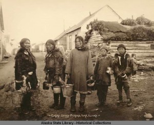 Eskimo berry pickers in Nome, Alaska, circa 1910.