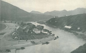 """Canneries on Karluk Spit in 1898. Photo by Jefferson Moser. From """"The Salmon and Salmon Fisheries of Alaska."""" U.S. Fish Commission Bulletin for 1898. Washington DC, GPO, 1899, plate 53."""