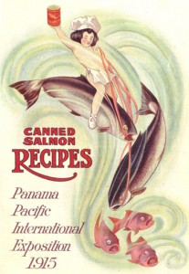 "Artwork from the 1915 edition of the Alaska Packers Association's recipe book ""How To Eat Canned Salmon."""