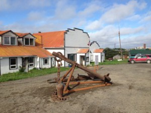 The anchor of the CHARLES E. MOODY positioned in front of the Bristol Bay Historical Society museum in Naknek. (Photograph courtesy Adelheid Herrmann.)