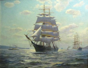 Charles Robert Patterson, famous British sailor/painter, painted this canvas of the CHARLES E. MOODY. (Photograph courtesy Soma Estate Auction House. December 2009.)