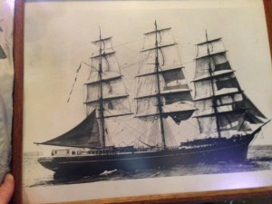The CHARLES E. MOODY in the prime of her sailing life. This photo hangs in the D & D Bar in Naknek.