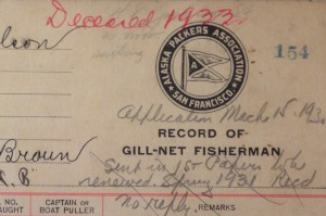 Alaska Packers Assoc. noted in their records whenever a fisherman died while working for them.