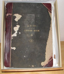 The tattered correspondence copy book of the Alaska Commercial Company. (Photo by J P Goforth)