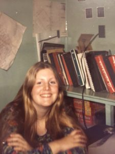 Susan Morgan in the cannery office, 1973.